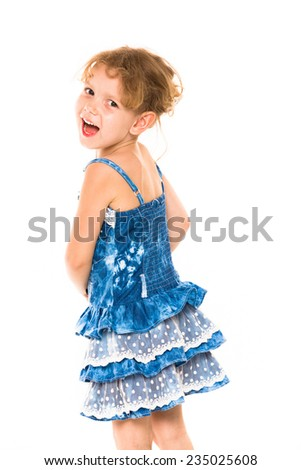 Little four year old girl happy white background - stock photo