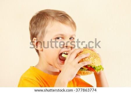 Little funny boy eating a tasty hamburger - stock photo