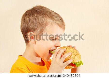 Little funny boy eating a tasty sandwich - stock photo