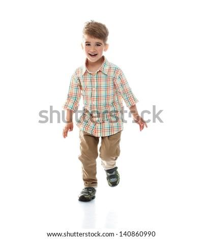 Little funny boy isolated on white background - stock photo
