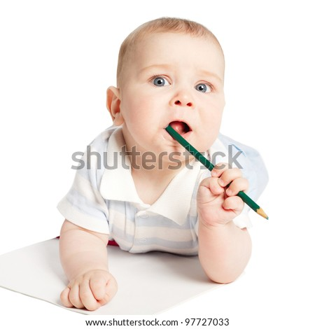 little funny boy with pencil