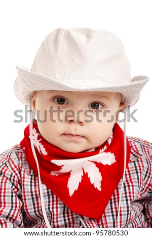 little funny cowboy isolated on white background - stock photo