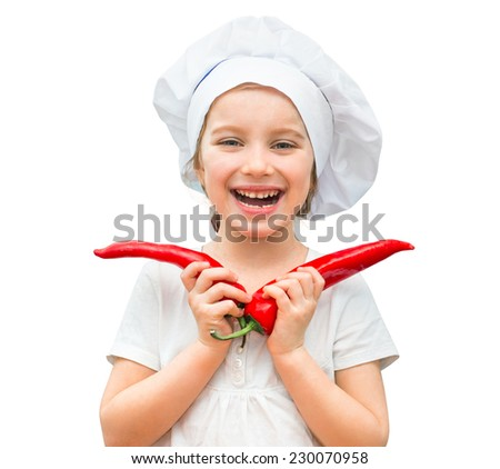 little funny girl in a cap chef isolated on a white background - stock photo