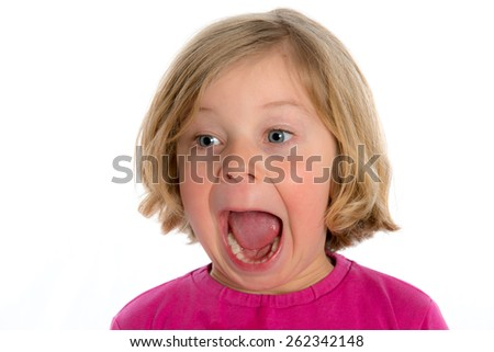 little funny girl is jubilating in front of white background