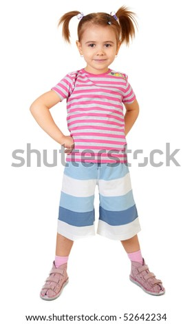 Little funny girl on white background - stock photo