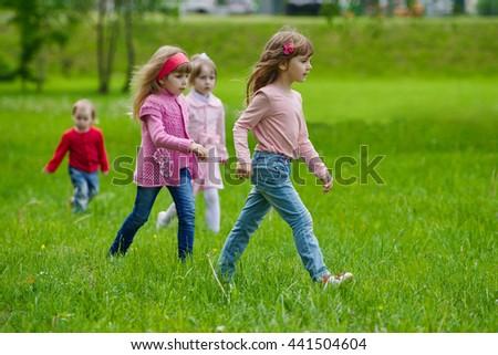 little funny girls park - stock photo