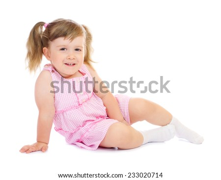 Little funny sitting girl isolated - stock photo
