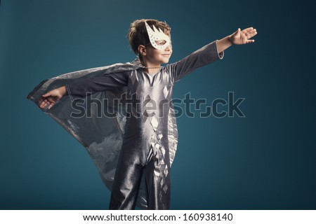 little funny super hero portrait - stock photo