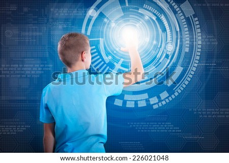 little genius working on the virtual program - stock photo