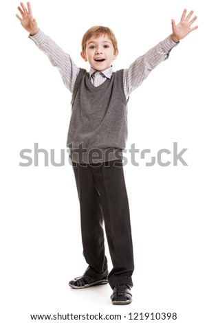 Little gesturing child boy happiness fun smiling - stock photo