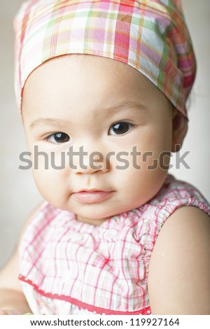 Little girl a on white background. Portrat
