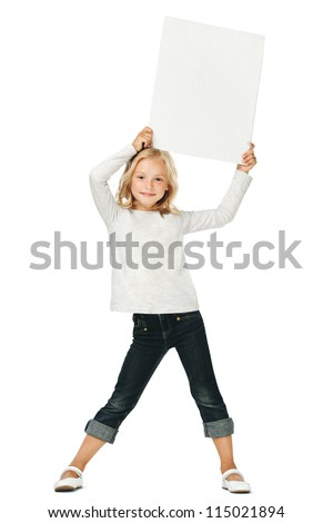 Little girl activity/A girl holding a white sign above his head - stock photo