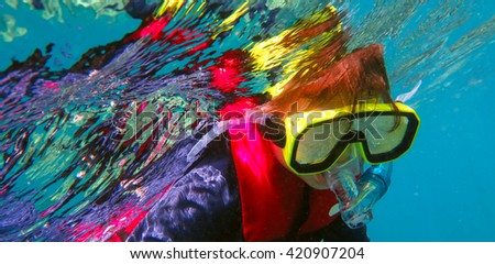 Little girl (age 5-6) snorkeling dive in the Great Barrier Reef Queensland Australia - stock photo