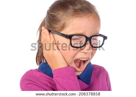 little girl an earache on white background - stock photo