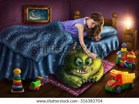 Little girl and a green monster  - stock photo