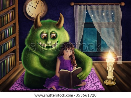 Little girl and a green monster reading a book - stock photo