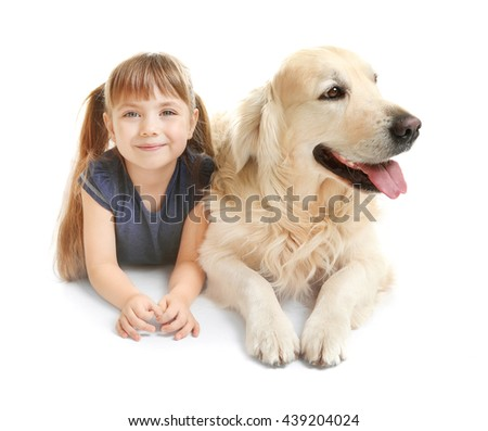 Little girl and big kind dog isolated on white