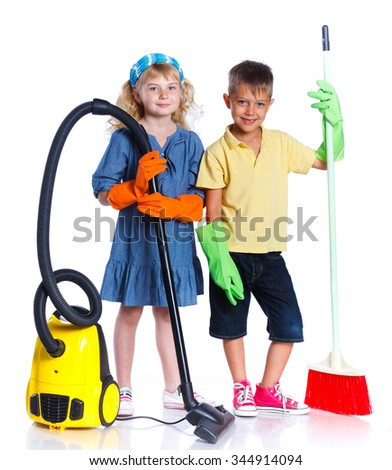 Little girl and boy cleaning floor with vacuum cleaner and Chores with Mop. Isolated on white background.
