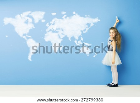 Little girl and cloud world map - stock photo