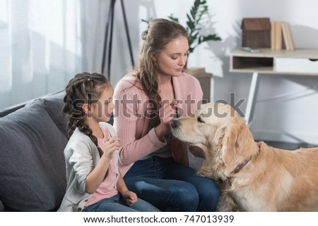 Little Girl Her Mother Playing Golden Stock Photo Royalty Free