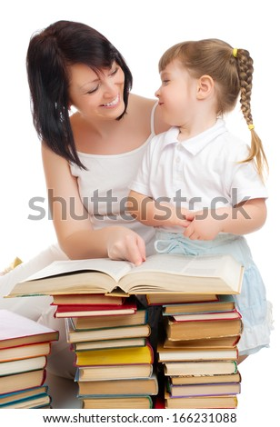 Little girl and her mother with books isolated - stock photo