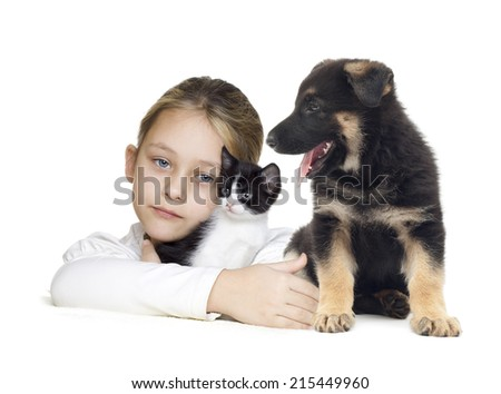 little girl and kitten and puppy - stock photo