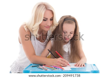 little girl and mother drawing together using color pencils isolated on white background