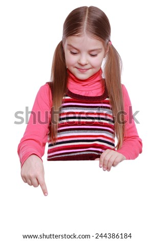 little girl and white blank with empty space for text or picture - stock photo