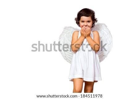 Little girl angel isolated on white - stock photo