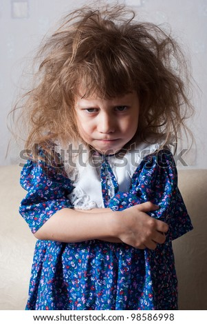 Little girl angry and resentful - stock photo