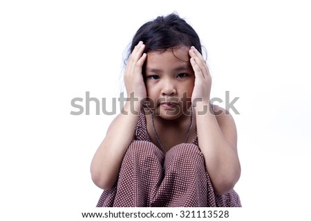 Little girl angry isolated on white background