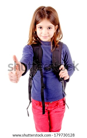 little girl at school isolated in white - stock photo
