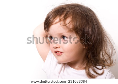 Little girl at the age of 2-4 years old closeup portrait  - stock photo