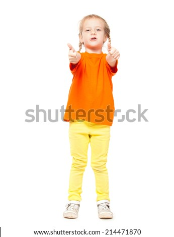 Little girl at yellow jeans. Child on white background - stock photo