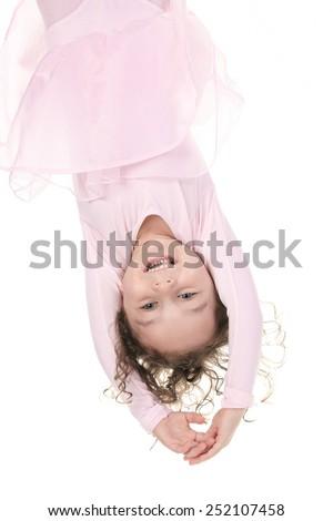 little girl balerina dancer isolated on white background - stock photo