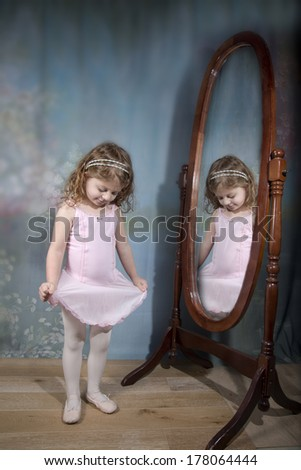 Little Girl Ballerina  - stock photo
