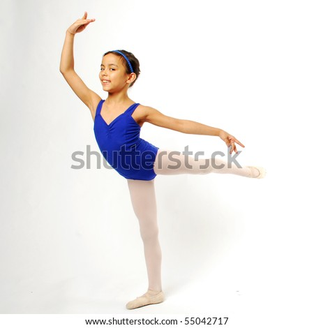 Little Girl Ballerina on White Background