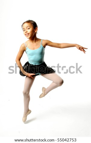 Little Girl Ballerina on White Background - stock photo