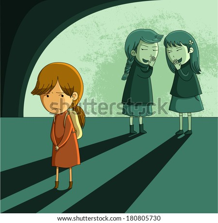 little girl being bullied by other girls - stock photo