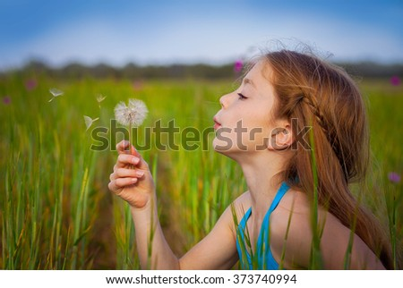little girl blowing dandelion in field - stock photo