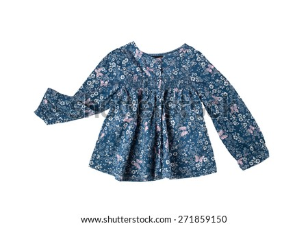 little girl blue cotton blouse with butterflies and flowers print for spring and summer wardrobe isolated on white background - stock photo