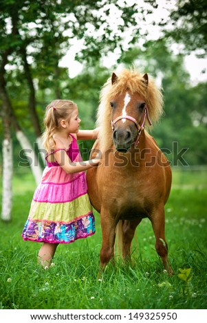 Little girl brushing a pony - stock photo