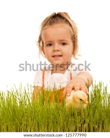Little girl catching fluffy chicken in the grass - focus on the hand,  isolated - stock photo