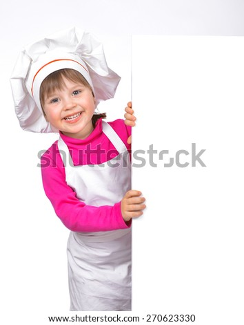 Little girl chef isolated on white background - stock photo