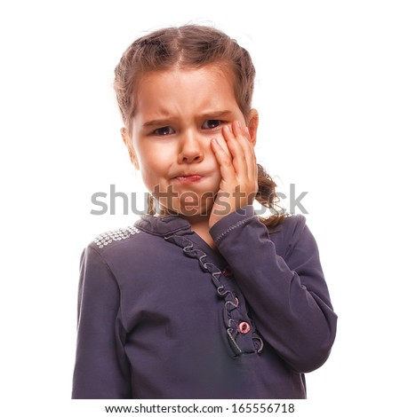 little girl child have toothache, toothache emotions large inflated cheek isolated on white background - stock photo