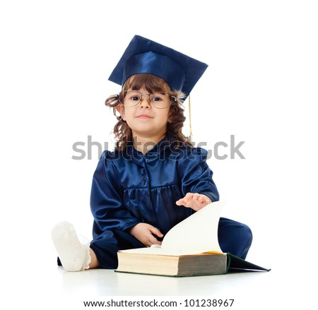 Little girl child in academician clothes  with book