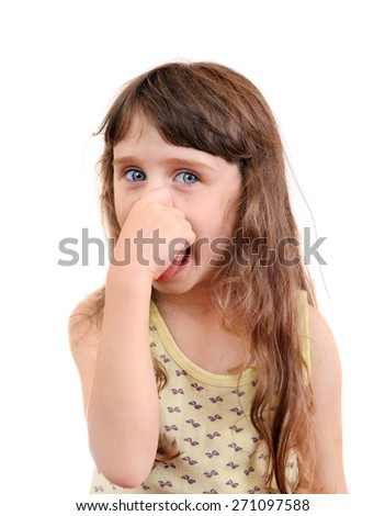 Little Girl close the Nose Isolated on the White Background - stock photo