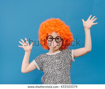 Little girl clown - stock photo