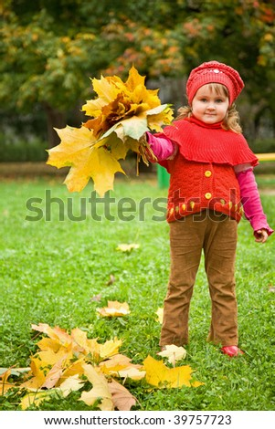 little girl collect maple leafs In park in autumn - stock photo