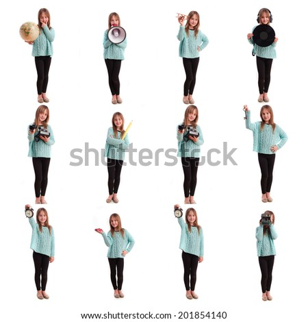 little girl collection - stock photo
